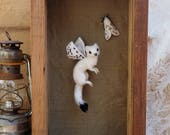 Reserved for Heather. Stoat and moth, needlefelted textile art entitled 'Huntress Of The Light'