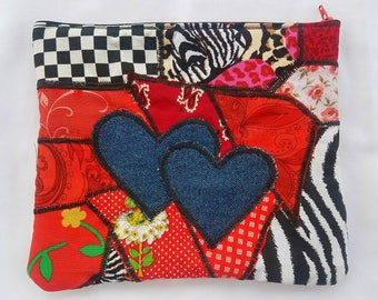 Double hearts patchwork purse