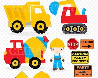 "50% OFF SALE Construction Digital Clipart : ""CONSTRUCTION Clipart"", Trucks ClipArt, Dump Truck clip art, Personal & Commercial Use, instant"