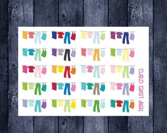 Laundry Line Stickers for your planner or scrapbooking.