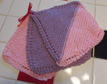 Hand knitted cotton wash cloths
