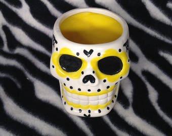 Large Yellow Sugar Skull Day of the Dead DOD Shot Glasses handmade hand made OHIO USA skulls
