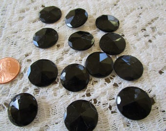 Vintage Faceted Black Jet Glass Buttons