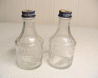 Mogen David, Mogen David Wine Bottles, set of 2 Vintage MD Wine Bottles, Metal Lids