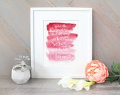 He came to serve watercolor brush handlettering - Mark 10:45 scripture verse watercolor - hot pink ombre Bible verse
