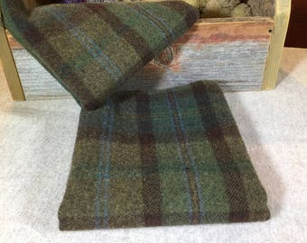 Birchwood, a green and brown plaid,  Mill Dyed Wool Fabric for Rug Hooking, Applique, Penny Rugs, Fiber Arts, Fat Quarter Yard W286