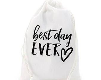 best day EVER Print Muslin Drawstring Favor Bag (12)