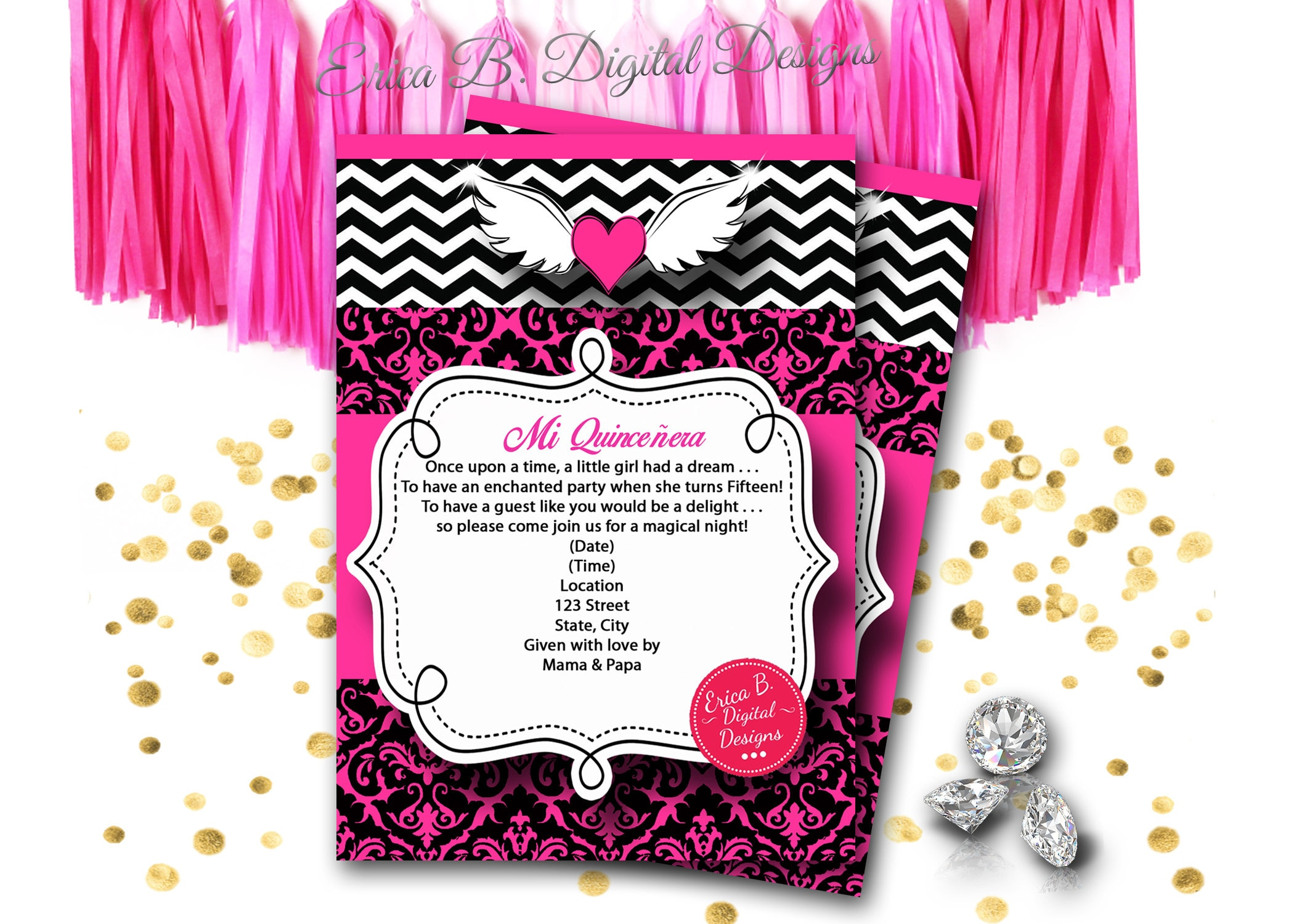 Angel Heart Chevron Hot Pink Invitation, Invitation, Carriage Qui ...