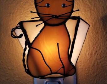 Stained Glass Night Light Brown Cat,Handmade Gift, Pet Lover's Gift,Home Decor,Birthday Gift,Gift for Mom,Gift for Her,Cat Accent Light
