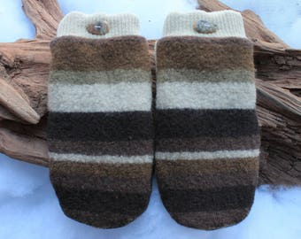 Wool sweater mittens lined with fleece with Lake Superior rock buttons in brown and cream, Valentines, coworker gift, snow shoeing, birthday