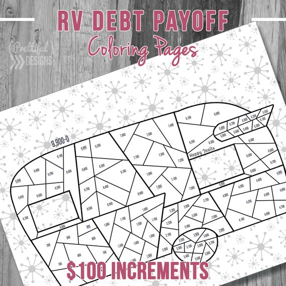 Retro RV Camper Debt Payoff Coloring Pages Financial Organizer