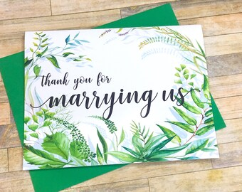 Card for Wedding Officiant - Thank You for Marrying Us - Priest - Pastor - Officiant - Rabbi - Thank You for Marrying Us - SECRET GARDEN