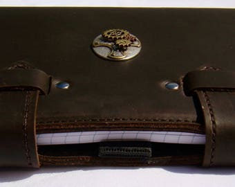 Refillable Leather Folio A5 Compendium Journal Diary - Steampunk Gears - Brown Stoned Oil Cowhide