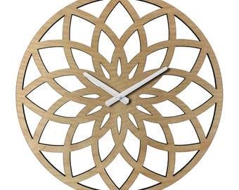 "Oversized LOTUS Ring WALL CLOCK - 23"" diameter - Contemporary Laser Cut Wood"