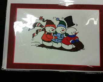 Snowman Sled Christmas Card