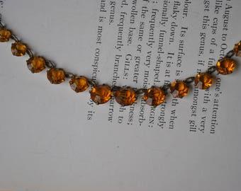 Antique Orange Glass Necklace - 1920s Art Deco Orange Stone Necklace