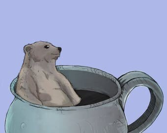 Bear in a mug - A3 poster