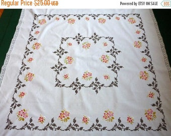 25% SUMMER SALE Vintage cotton square tablecloth with Cross Stitch and traditional floral embroidery hand embroidered table cloth 60s