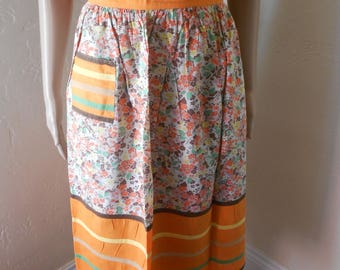 Vintage Half Apron, Bold Orange Stripe & Floral Print Apron