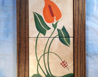 Art Nouveau Hand Painted Lily Art Tile with Hand Made Oak Tile, Orange Lily Painted on Tile