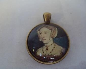 Cabochon pendant brass tone Jane Seymour