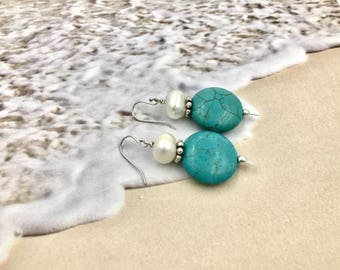 Free Shipping,Fresh Water Pearl and Turquoise Earrings,sterling silver,turquoise earrings,fresh water pearls,Made in USA,turquoise jewelry