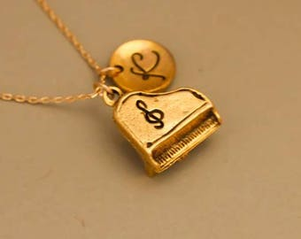 High quality gold filled Piano necklace, personalized infinity necklace, friendship jewelry,Monogrammed Necklace , music teacher gift
