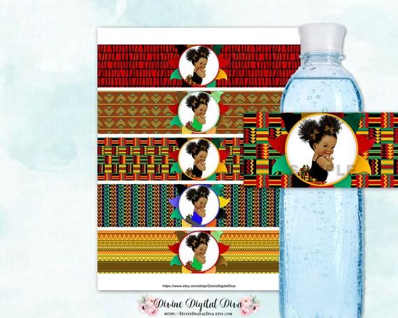 Kente Pattern Water Bottle Labels African American Baby Girl
