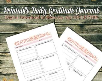 Printable Daily Gratitude Journal Digital Download 3 sizes A4- A5- US Letter, Gratitude, Self love, Tracker, Planner, Grateful, Motivation