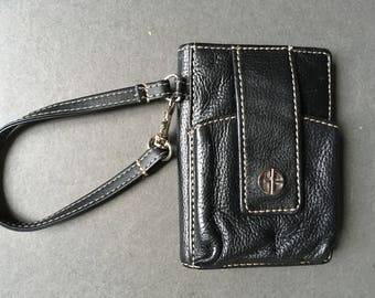 Vintage GIANI BERNINI Genuine Leather Black Wristlet, Wallet