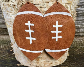 Large Light Brown Leather Football Earrings (100% leather)