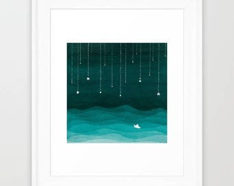 Watercolor painting nautical giclee print sailboat print kids wall sea art beach decor kids illustration teal emerald green nursery decor