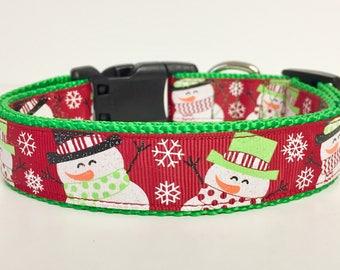 Christmas, Winter, Snowman Dog Collar, Holiday, Dog Gift, Custom, Cute, Pet Collar,