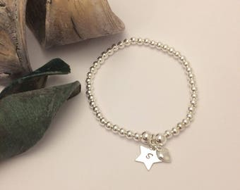 Sterling Silver  Heart & Star Charm Stretch Bead Bracelet for a Daughter