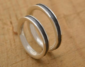His and Her Wedding Bands, Sterling Silver Wedding Band Set, Unique Bridal Set, BE100