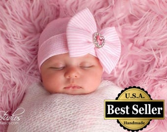 newborn hat, baby girl hat, newborn girl hat, baby girl hat, hospital newborn hat, newborn hat, infant hat, baby hat, baby bow