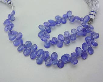 8-Inch 100% natural Tanzanite faceted pear gemstone loose beads 6.5-7.5mm AAA GW5032