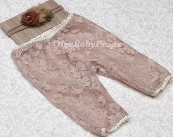 Newborn girl photo outfit lace pants and headband set baby girl photo outfit lace neutral props newborn photography prop ready to ship