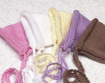 Newborn bonnet girl boy hat Newborn Girl Hat infant Hat knit pink yellow btown bonnet Photo prop. Newborn photography
