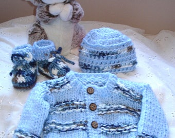 Hand knit boys new born sweater set,coming home outfit,original design by kids knits 1