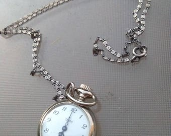 French vintage  silver  pocket watch ornate pendant pocket watch large sterling silver antique long solid silver chain  France