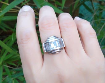 French antique  sterling silver Ring antique  art deco  faceted cut rhinestone tank ring large solid sterling ring 6.5