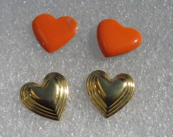 Lot Of Retro Heart Shaped Pierced Earrings Orange Goldtone Valentine's Day