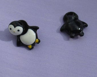 Retro Penguin Pierced Earrings One Missing Post Head Repurpose