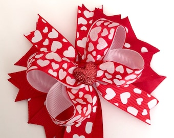 Valentine's Day Hair Bow, Valentine's Boutique Hair Bow, Valentine's Day Baby Girl Hairbow.