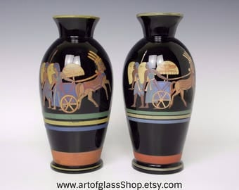 Pair of Bohemian black glass vases with enamelled Egyptian decor
