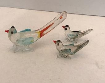 Vintage hand blown glass bird set