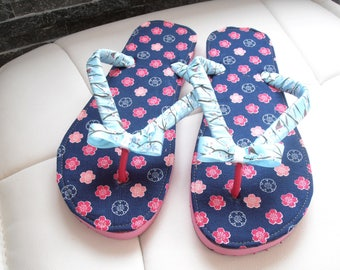 """Flip flops customized woman T37/38, pink and blue patterns """"flowers"""""""