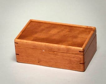 Small Wooden box, Graduation Gift, Keepsake box. Cherry body with a Curly Cherry lid. S/N 1117-007-013