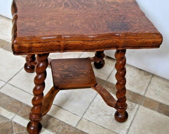 Gorgeous Antique Tiger Oak Thick Barley Twist Leg Pub Table Fat Top Low shelf Nationwide shipping available contact for best rates